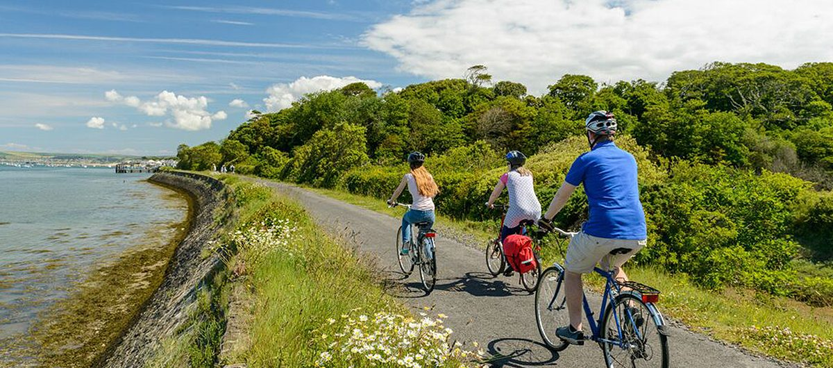 Cyclists on the Tarka Trail heading into Instow