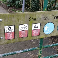 Tarka Trail Code of Conduct sign post on gate in Braunton